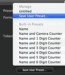 STEP 4 - Save the user preset so you can quickly select it from the drop-down menu in future. Then close the Naming Format dialogue window.