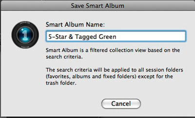 STEP 7 - A dialogue will appear and ask you to name the Smart Album. I would suggest being very descriptive in your naming so it is clear what type of images the album's search is returning.