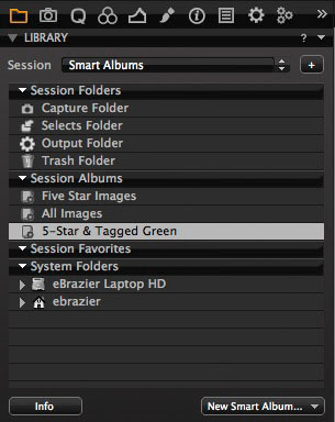 STEP 8 - The new Smart Album will appear in the Albums section of Session Library. Selecting this particular album will display images from the Session Folders and Session Favourites that are rated 5 stars AND have a green colour tag.